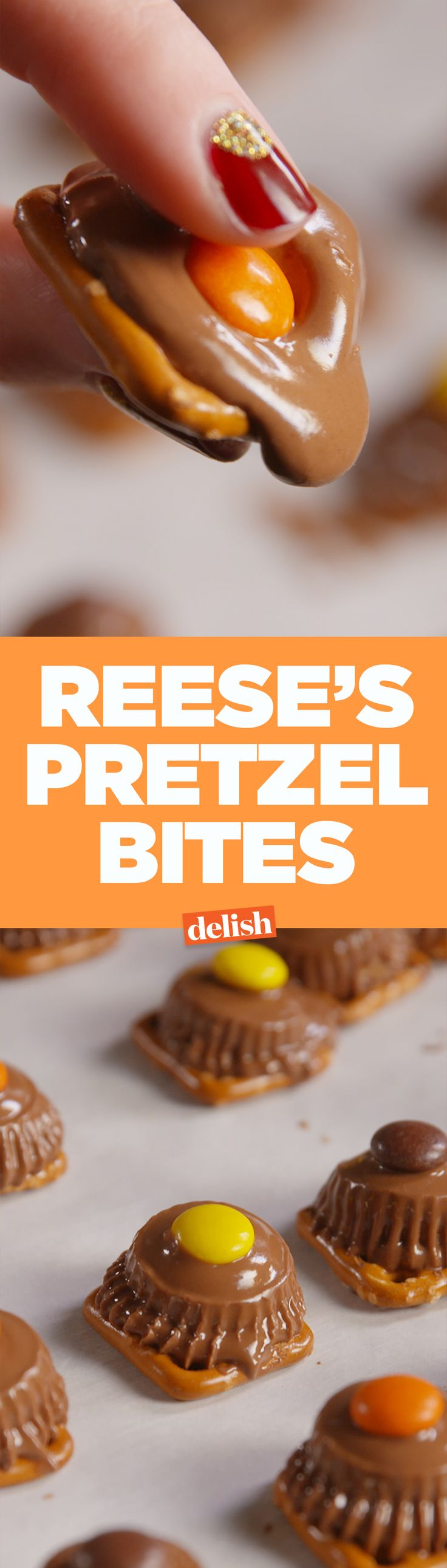 These Reese's Pretzel Bites are definitely the easiest dessert you'll ever make. Get the recipe on Delish.com.