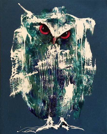 Schilderij 'Zelfverzekerd'  De uil als symbool van wijsheid.  De kunstenaar schildert de uil met menselijke trekken. Deze grootse en grote uil is geschilderd in mooie blauwtinten met kleuri...