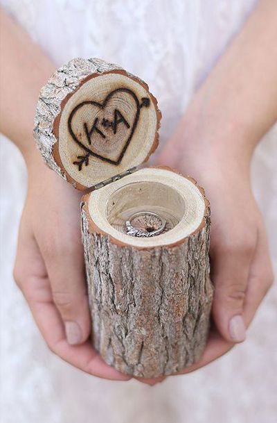 Personalized Rustic Wood Ring Bearer Pillow Box Alternative Tree Stump