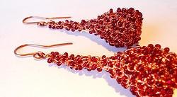 Garnet red wire crocheted earrings by Zita Felvinczy http://www.h-art.com.au/#!earrings/cu9g