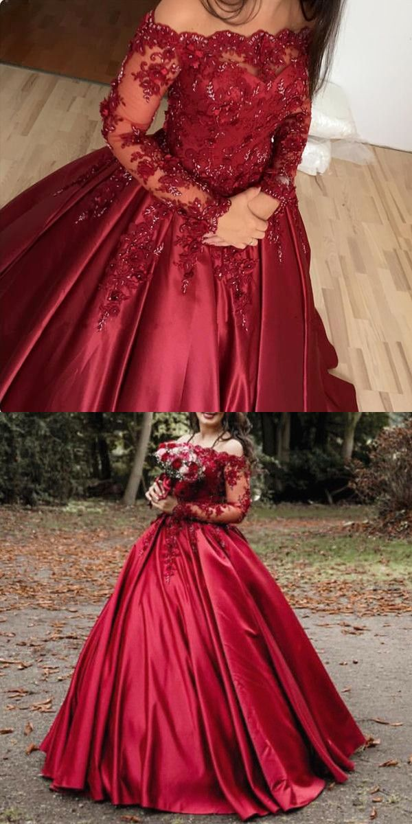 db0d4b5d9d Burgundy Satin Lace Long Sleeves Wedding Dresses Ball Gowns