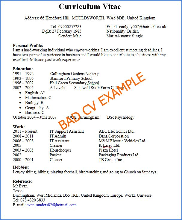 A confusing lay out for a CV, not exactly what you want.