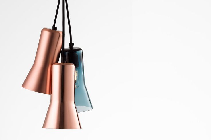 Ross Gardam   Touch chandelier in solid copper (matte finish), solid copper (gloss finish) and blue glass   Daily Imprint Interview + More Images http://www.dailyimprint.net/2015/09/designer-ross-gardam.html