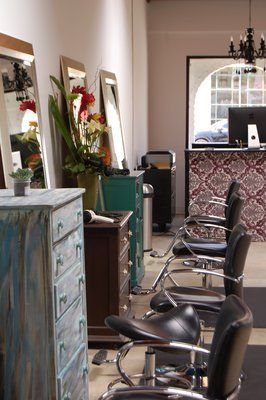 Our salon stations feature repurposed furniture by Bird Hair Designs. | Yelp
