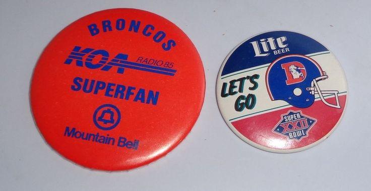 Denver Broncos LIte Beer old logo Helmet & Broncos KOA Radio Suoerfan Buttons #DenverBroncos