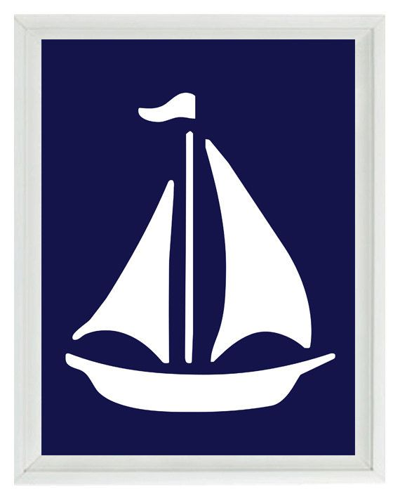 Sailboat Wall Art Print Navy Blue White by RizzleandRugee