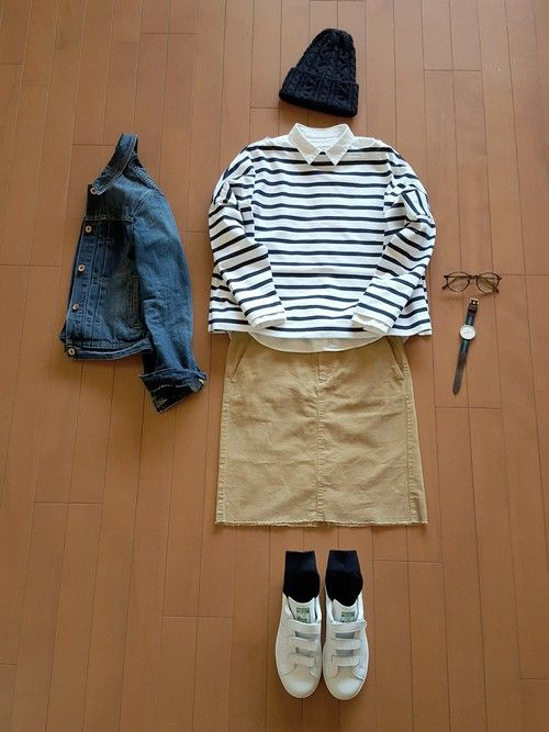 #タイトスカート     #ボーダー     #Gジャン     #きれいめカジュアル     #ネイビー身につけ隊     #アダルトおカワたん部     #ニット帽     #adidas     #春コーデ     #しましまんず萌え隊