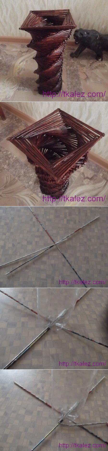 Мастер-класс с пошаговыми фото: Ваза - спираль из газетных трубочек   Плетение из газет   Постила