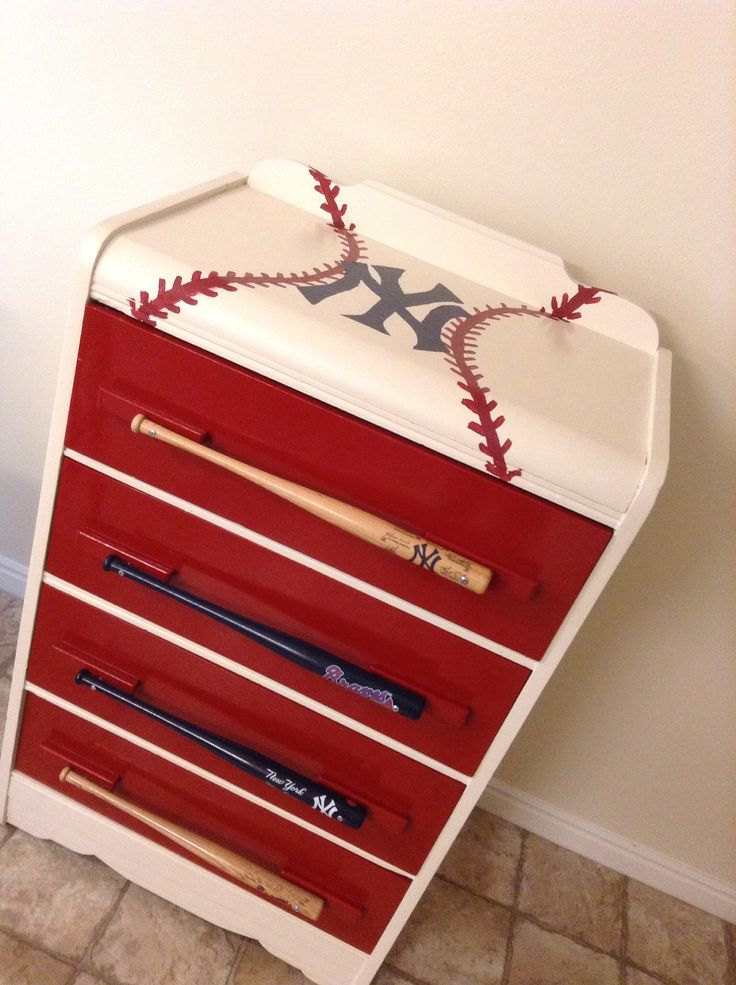Baseball dresser....except there would obviously be a different team logo on top! Now to find someone to paint a couple of Cardinals for me...