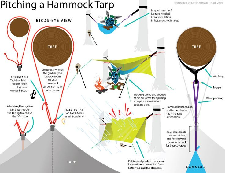 How to pitch a hammock and tarp for camping.