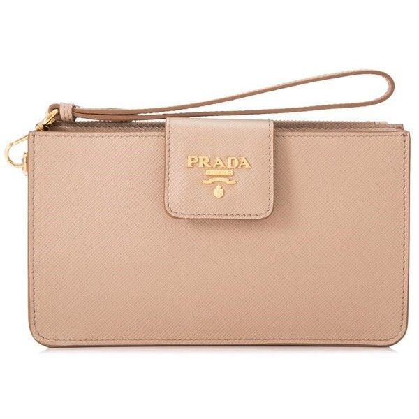 Prada Saffiano Metal Wristlet ($500) ❤ liked on Polyvore featuring bags, handbags, clutches, beige, wristlet handbag, red purse, beige handbags, wristlet clutches and beige purse