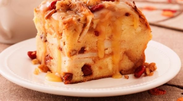 Praline Topped Apple Cranberry Bread Pudding