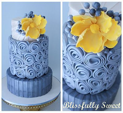 cake with fondant ribbon quilling
