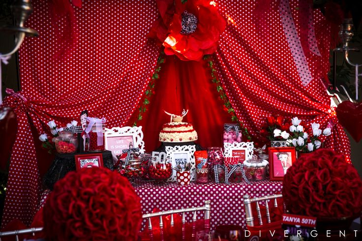 Red, Black and White themed garden birthday party candy buffet table