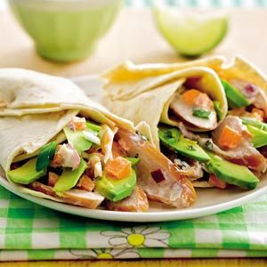 Some smoked chicken, red onions, raw carrots, avocado, sour cream, lime juice, spring onion and mint in wraps. Best summer dish!