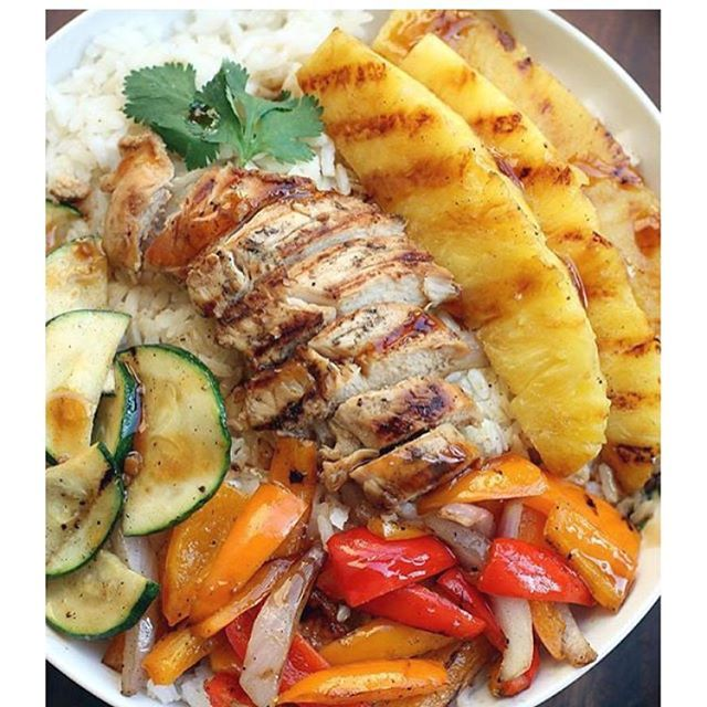 Grilled Hawaiian Chicken Teriyaki Bowls . Made by❤️ @tastesbetterfromscratch #Ingredients 4 or 5 boneless, skinless chicken tenders 1 zucchini, sliced 4 mini sweet bell peppers, any color, chopped 1/2 of a pineapple, peeled and cut into spears 1 small red onion, sliced thin 1/2 cup toasted sweetened coconut flakes, optional For the Coconut Rice 2 cups water 1 1/2 cups canned unsweetened coconut milk (about one 13.5 oz can) 2 tsp packed light brown sugar 1 tsp salt 2 cups white or jasmine…