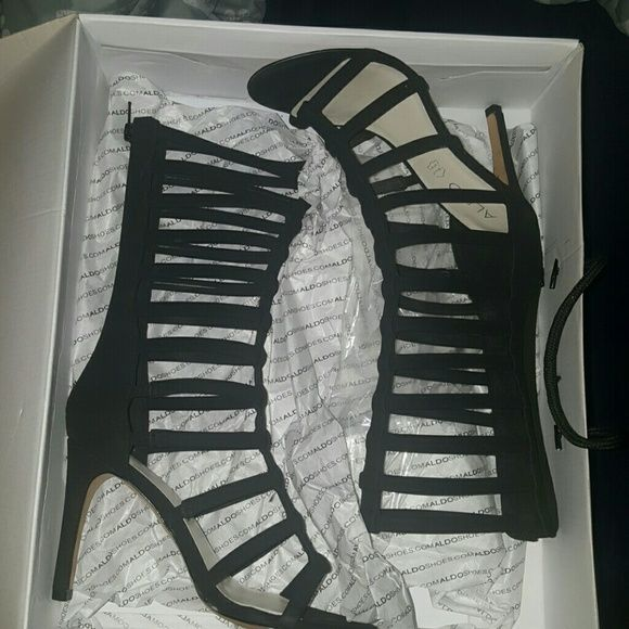 Aldo heels Black Aldo heeled sandals, worn twice size 6.0 w/box... $70 OR BEST OFFER... NO TRADES ALDO Shoes Heels