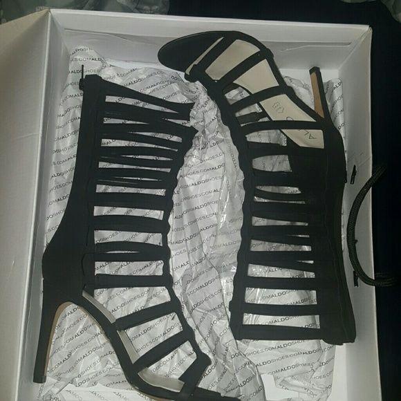 Aldo heels Black Aldo heeled sandals, worn twice size 6.0 w/box... $70 OR BEST OFFER... NO TRADES ALDO Shoes Heels