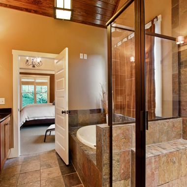 craftsman shower tile design slate tile shower knotty alder cabinets craftsman style bathroom