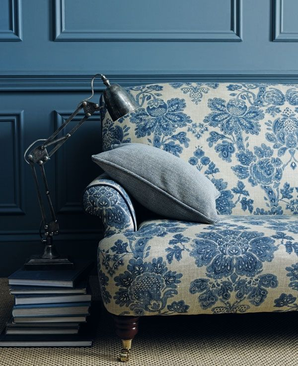 Moody blues. #interiordesign #LinwoodFabric@www.glenwoodinteriors.com