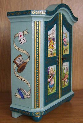 Alice in Wonderland Miniature Dollhouse Armoire Wardrobe Hand Painted Painting
