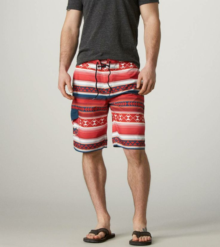 Men's Board Shorts | These comfy, adjustable board shorts from #AmericanEagle feature a trendy geometric pattern. Plus, earn 1 reward mile for $20 when you shop online through airmilesshops.ca. #airmiles #springfashion