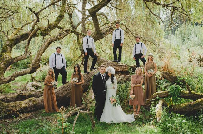 One of the most beautiful wedding party pictures ever! Elegant Rustic Wedding in Washington: Lena + Sergey
