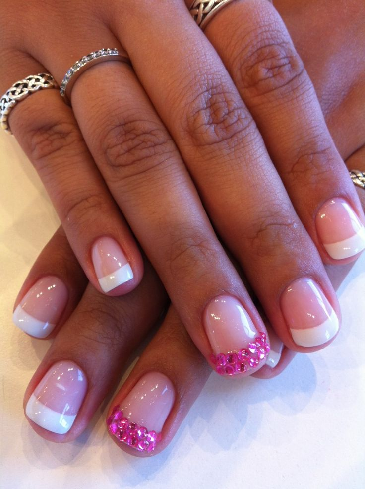 Pink Rhinestone French Tips As A Feature Nail On A Classic Bio Sculpture Gel French Manicure