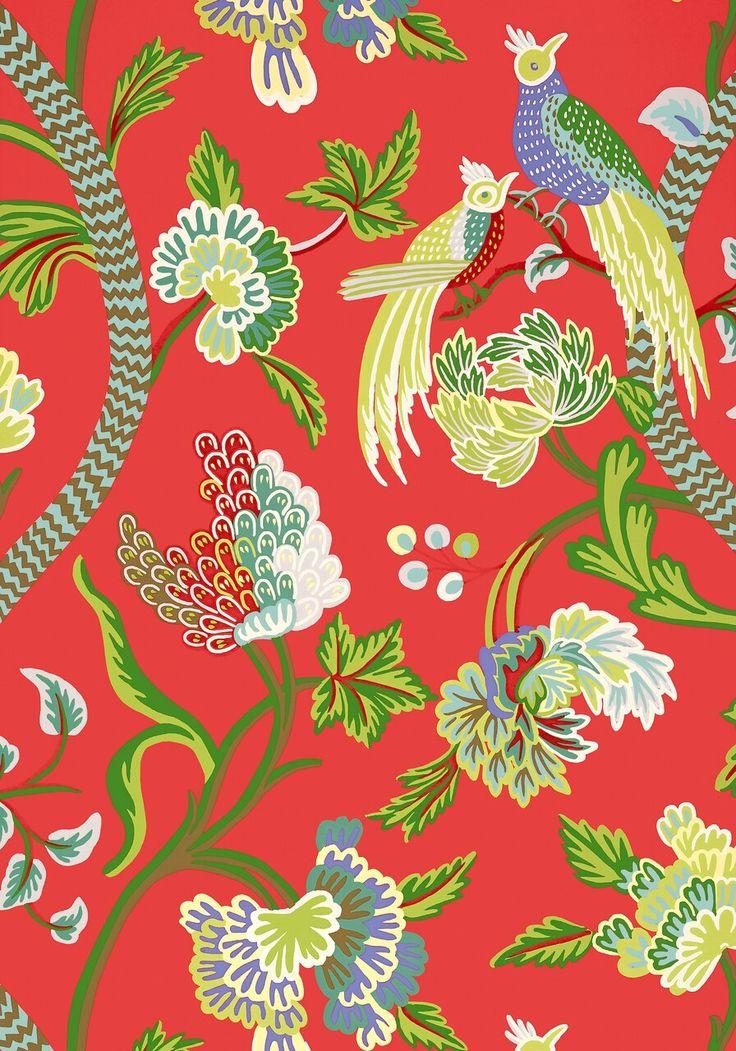 Janta bazaar red Thibaut wallpaper, Chinoiserie