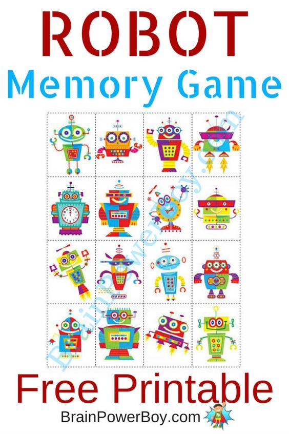 printable games for kids robot memory game - Free Printable Games For Kids