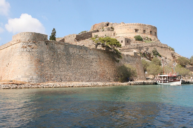 Spinalonga, Crete - The island of Spinalonga, officially known as Kalydon, is located in the Gulf of Elounda in north-eastern Crete. The island was subsequently used as a leper colony from 1903 to 1957.