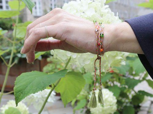 Flettet armbånd med krystaller