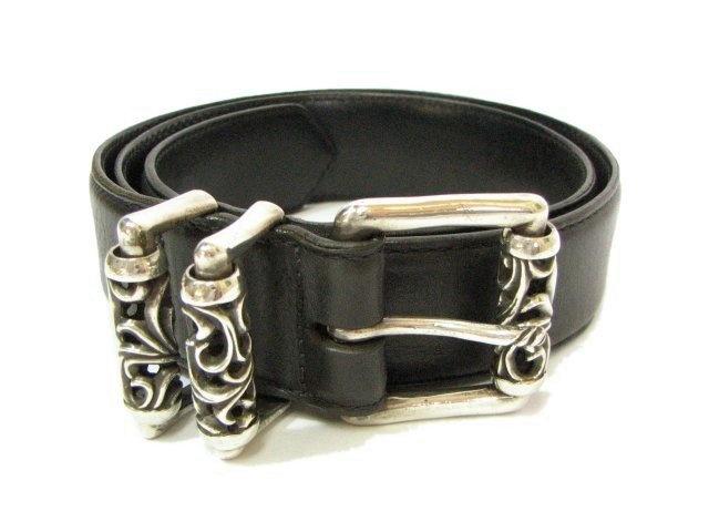 Chrome Hearts Belt  (Men's Belts, Roller Buckle, Black Leather, Silver, Pre-owned)