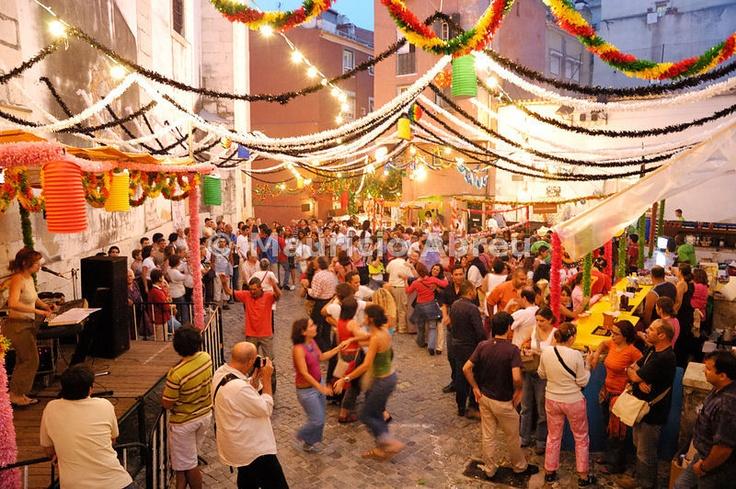 A popular ball in Santo António festivities in Lisbon, Festas de Lisboa, Arrial, Portugal