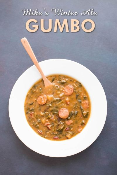 A hearty Cajun gumbo recipe made with plenty of andouille sausage, bacon, peppers, a long stirred roux the color of copper, and the addition of a flavorful Winter ale to help warm the bones.