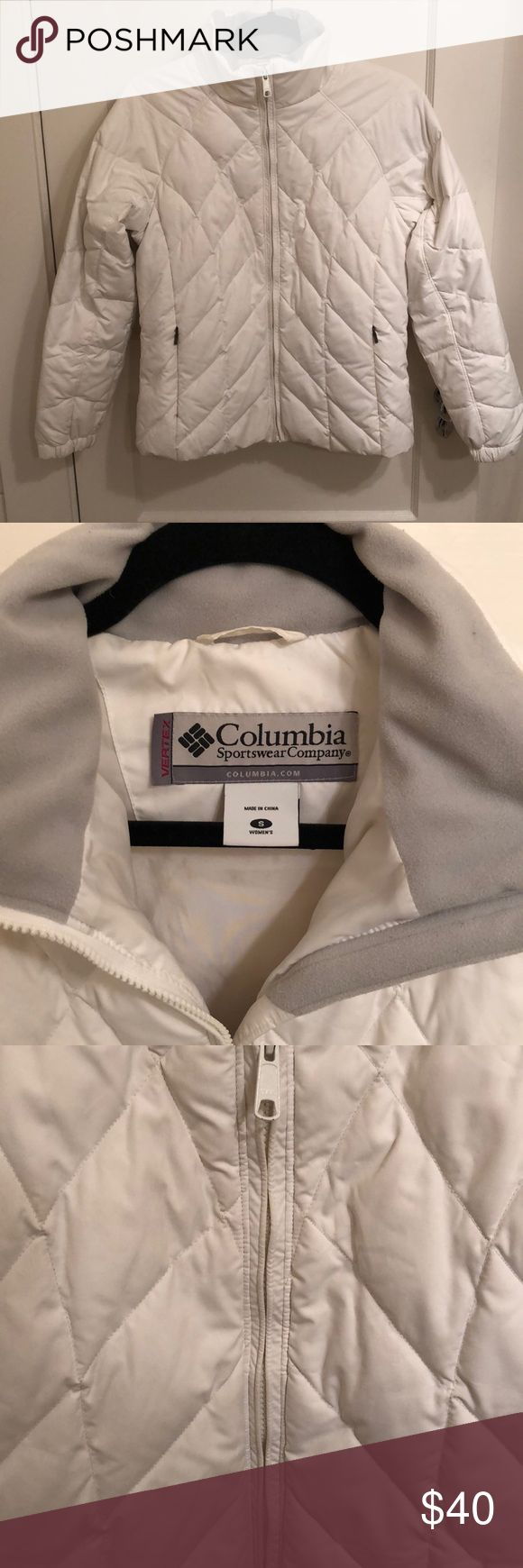 Columbia Sportswear White Down Jacket Puffy Sz S Super cute women's white down jacket by Columbia Sportswear. Flattering design. Size small. Bright white color. Some not very noticeable marks on the cuffs (see photos) but overall great used condition Columbia Jackets & Coats Puffers