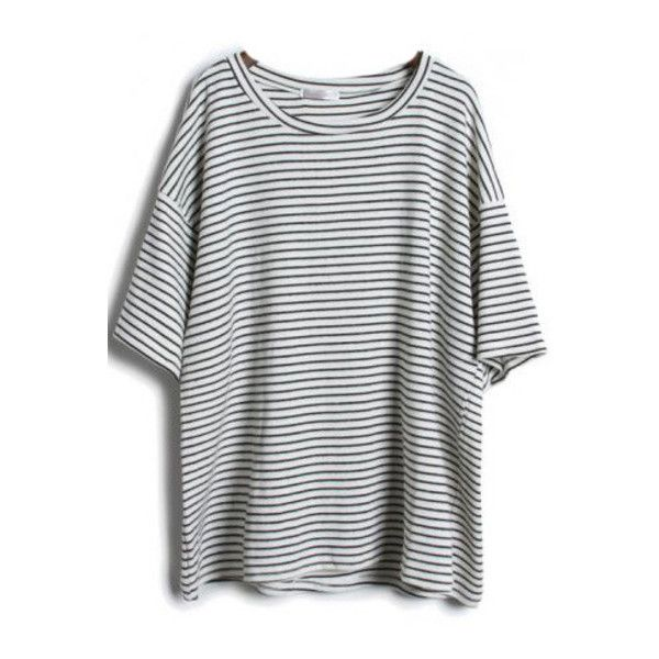 SheIn(sheinside) Grey Short Sleeve Striped Loose T-Shirt (19 CAD) ❤ liked on Polyvore featuring tops, t-shirts, shirts, sheinside, grey, short sleeve t shirt, summer t shirts, cotton shirts, striped sleeve shirt and striped tee
