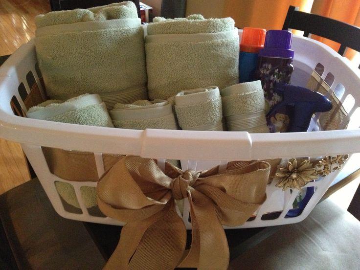 Bridal shower gift - laundry basket filled with towels, detergent ...