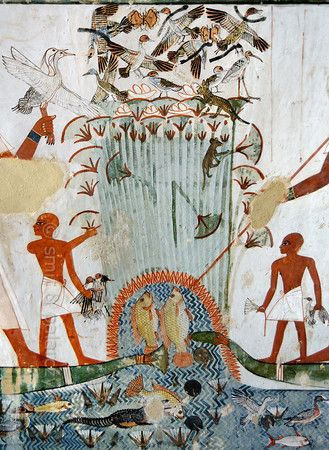 Menna's tomb (TT69) at Luxor- papyrus swamp scene. The artisan Menna was 'Scribe of the Fields of the Lord of the Two Lands' during the reign of Thutmose IV. Dyn 18