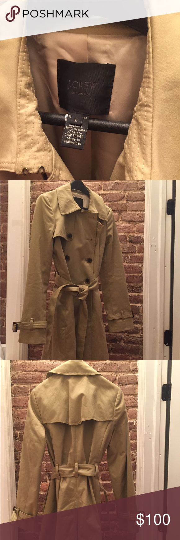 J.Crew Collection Size 2 Icon Trench This coat comes from a smoke free environment and has only been worn a handful of times. Requires dry cleaning but is in great condition. No stains or snags. J. Crew Jackets & Coats Trench Coats