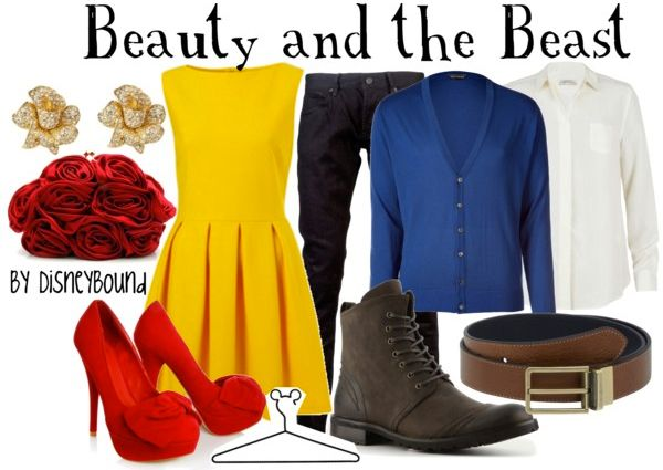 Beauty + The Beast: Date Night, Disney Couple, Couple Outfits, Yellow Dresses, Disney Bound, Disneybound, The Beast, Disney Fashion, Disney Movie