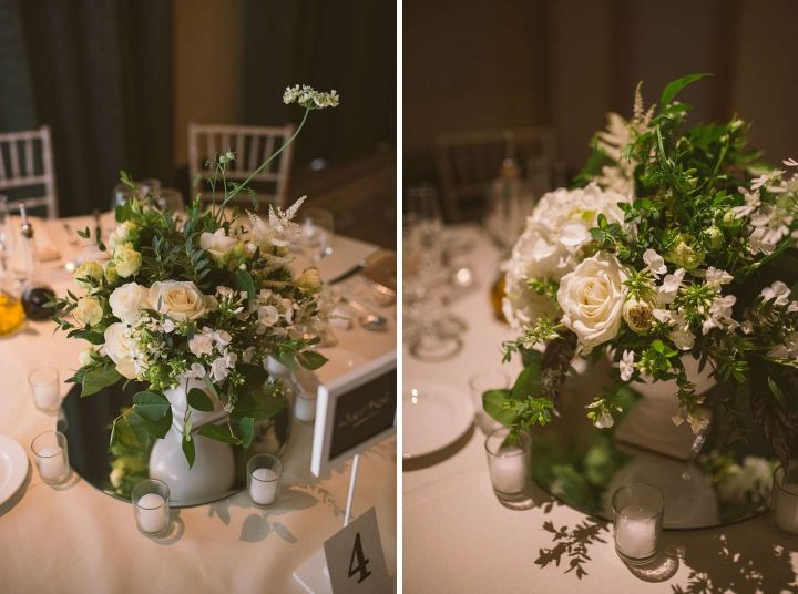 Flower centrepieces by Basement Florist at Woburn Sculpture Gallery wedding