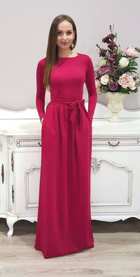 006c68638170 Raspberry Maxi Dress  Long Sleeves Pockets Sash  Bridesmaid Party Plain  Long Dress