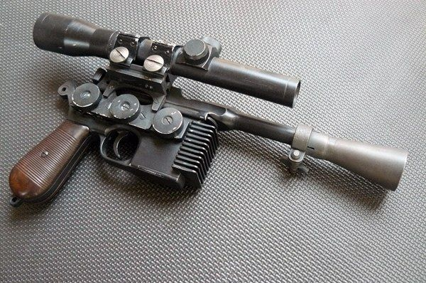 """Han Solo's sidearm: built from a """"broom-handle"""" Mauser machine pistol. The """"flash-suppresser"""""""