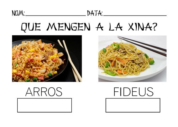 Fitxa de treball sobre el projecte La Xina. El menjar.
