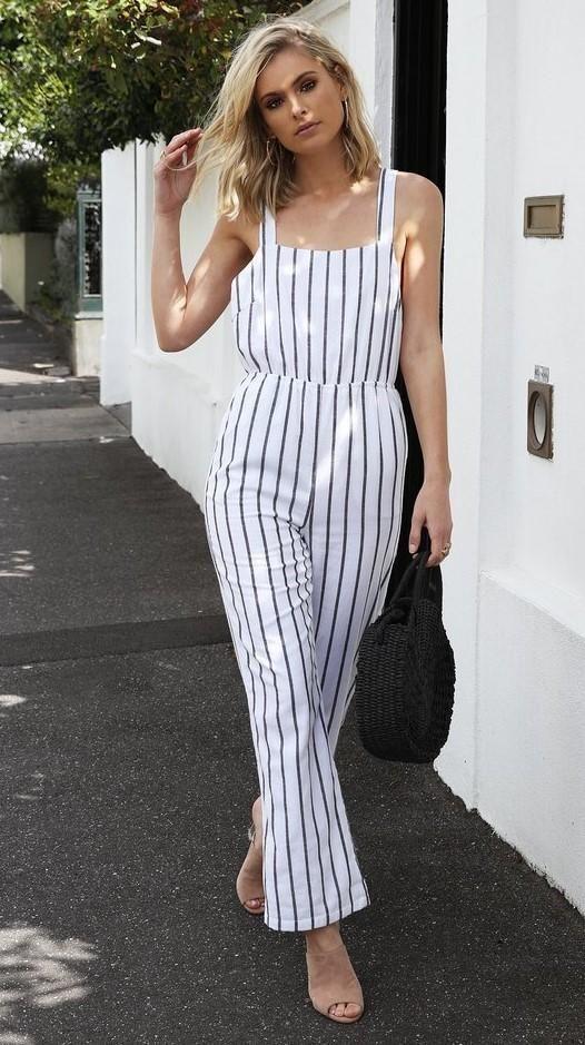 Madison Square - Parisian Pantsuit - White Stripe