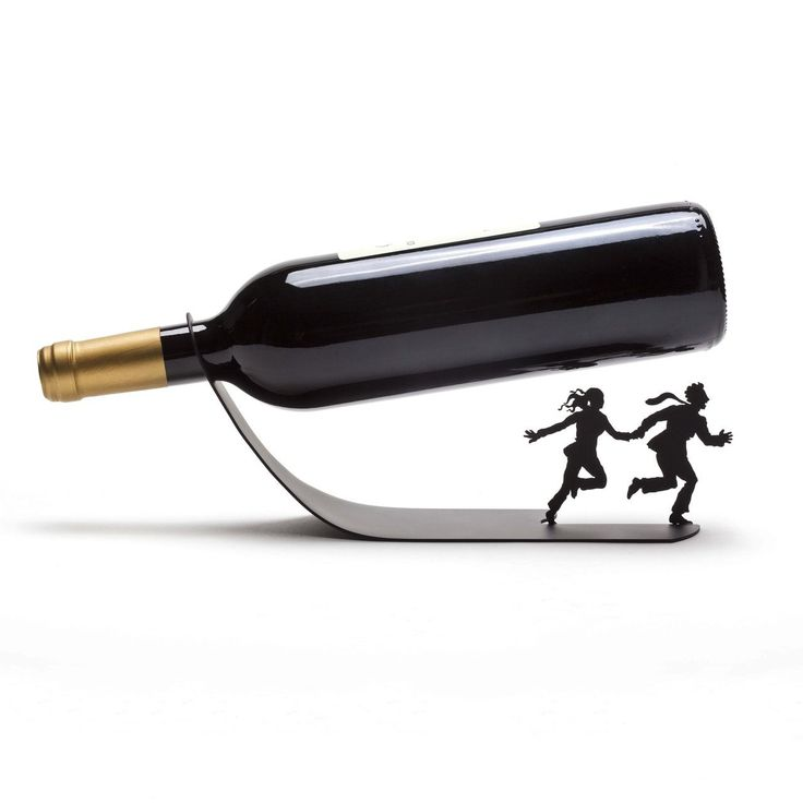 "Run … I mean … Wine for Your Life! A simple bottle holder simply will NOT do. Not when you can make a statement: ""I will not be crushed by you! Nay, I shall crush YOU!"""