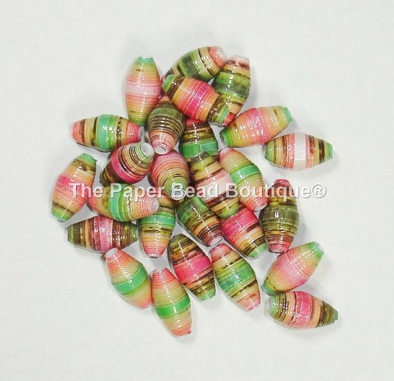 Paper Beads Loose Handmade Supplies Barrel by ThePaperBeadBoutique