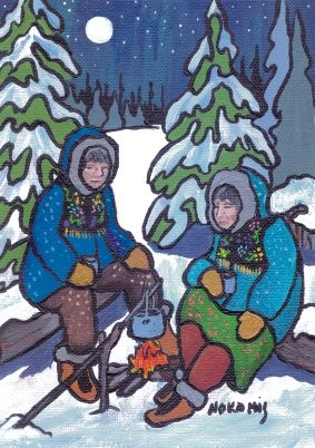 Nice Cup of Tea - a painting by the artist Ojibwa artist Nokomis available as a card or matted print from Native Art in Canada.
