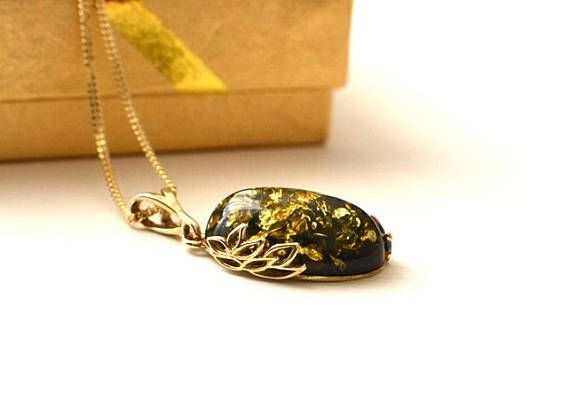 Green Amber Necklace Amber Jewelry  Amber Gift Baltic Amber